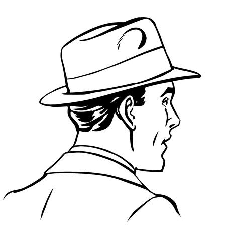 hombre con sombrero: hombre de perfil del sombrero del arte pop línea de arte de estilo retro