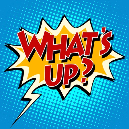 think up: whats up  comic bubble retro text. Pop art retro style. The speech of the character. Vector retro background