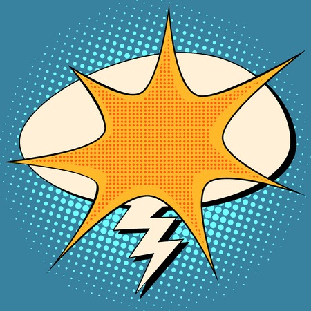 explosion and lightning comic bubble retro background for text pop art retro style