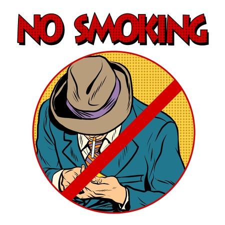 muestra del estilo de la prohibición de fumar arte pop retro. El fumador enciende un cigarrillo. La prohibición de signos. la zona libre de humo de tabaco