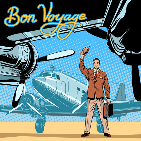 Businessman meets or accompanies departure aircraft pop art retro style. Pleasant meeting. Retro journey. Business trip