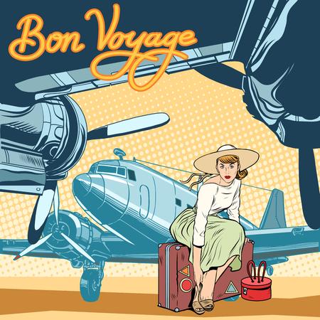 femme valise: Bon voyage belle fille sur l'art de style rétro piste pop. Rétro Voyage d'affiche. Lady voyageur