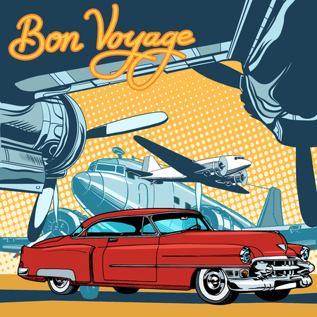 voyage: Retro red car on the runway pop art retro style. The private plane. Travel and tourism. Retro transport