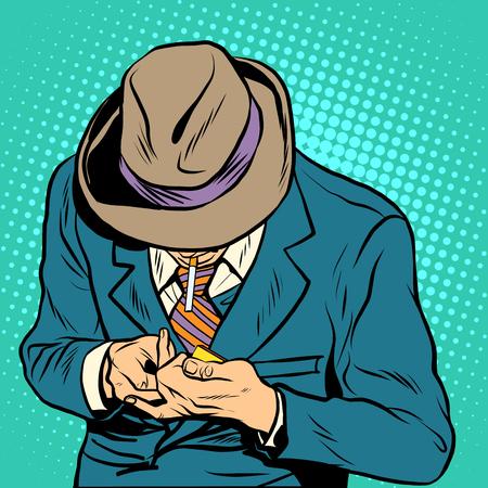 malos habitos: estilo del arte pop retro fumador masculino. Un hombre enciende un cigarrillo. hábitos de salud y malas