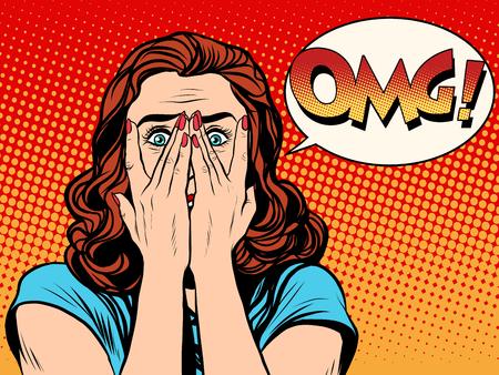 gesicht: Überrascht OMG schockiert Frau Pop-Art Retro-Stil. Das Mädchen in den Emotionen. Wow-Effekt Illustration