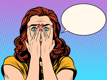 Überrascht Frau schockiert Pop-Art Retro-Stil. Das Mädchen in den Emotionen. Wow-Effekt