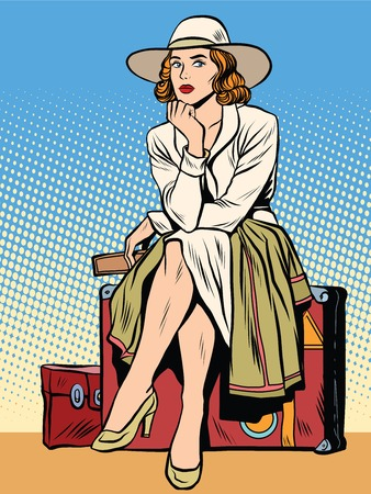 cruise cartoon: retro girl passenger with a ticket pop art retro style. The hours of waiting. Passenger trip journey tour. The ticket for the transport