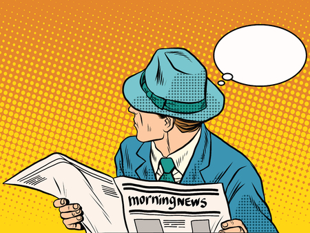 news reader: Retro man reading the morning news pop art retro style. Morning press. Politics and Economics. The media and Newspapers Illustration