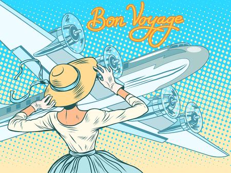 いってらっしゃい女の子エスコート機 pop アート レトロなスタイルです。レトロな女性。旅行と観光。航空輸送