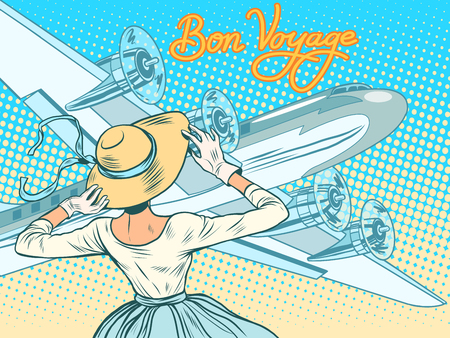 airport cartoon: Bon voyage girl escorts aircraft pop art retro style. Retro lady. travel and tourism. Air transport Illustration