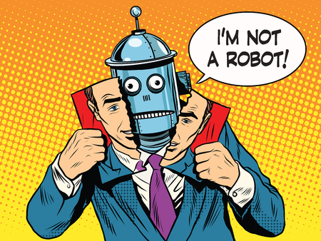 artificial intelligence robot pretending to be human pop art retro style. Science and technology. Retro robot