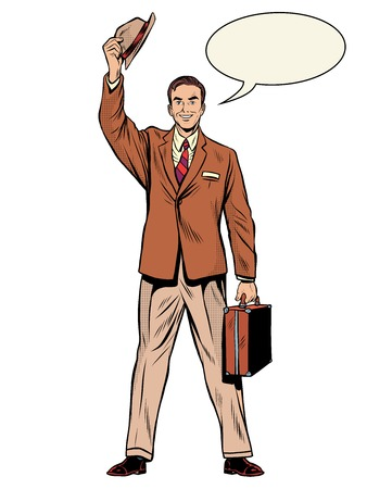 returned: Man businessman salesman pop art retro style. Pleasant meeting. Dad returned home. Retro business Illustration