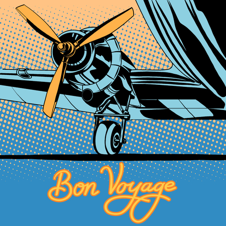 Bon voyage retro travel airplane poster pop art retro style. Retro transport aircraft. Airfield. Travel and tourism