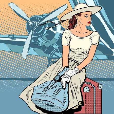 空港ポップアートのレトロなスタイルで女性旅行者。レトロな女の子。美しい女性。旅行と観光