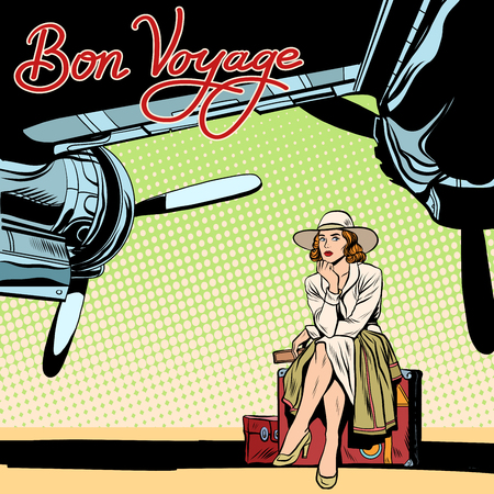 comic background: Bon voyage beautiful girl on the runway pop art retro style. Retro poster travel. Lady traveler