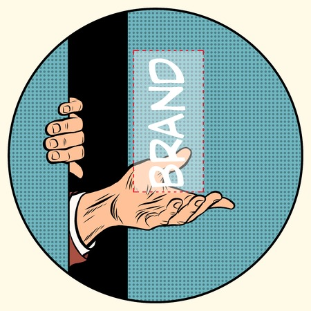 novelty: Advertising your brand here pop art retro style. Universal poster for the business of the announcement of a new product. The hand holds a brand