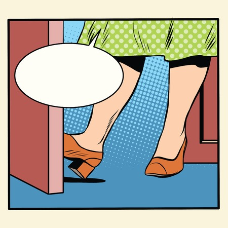 hospitality: Retro woman holding the door open pop art retro style. The house and hospitality. Friendship and acquaintance. Women and relationships