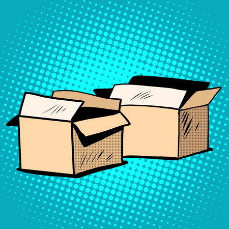 purchase book: Packaging boxes cardboard retro pop art retro style. Vector box. Vector packaging Illustration
