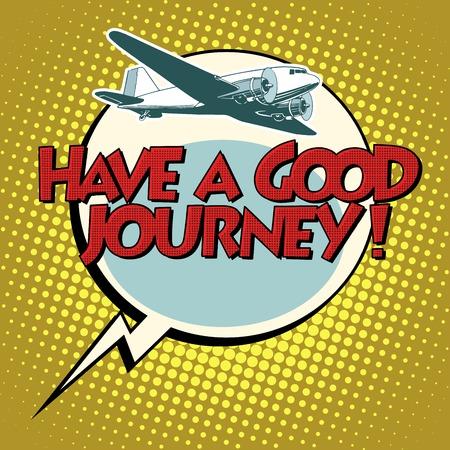 hebben een goede vlucht reis vliegtuig pop art retro stijl. Lucht transport. Reizen en vluchten.