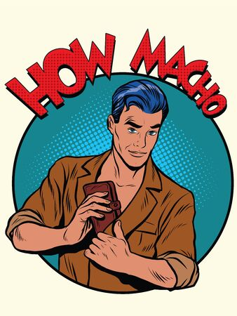 estereotipo: cómo el estilo retro del arte pop bolsa de dinero macho. La imagen de los machos. Estereotipo. macho retro
