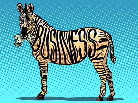 eats: Business Zebra eats money pop art retro style. money and finances. Vector Zebra. Animal