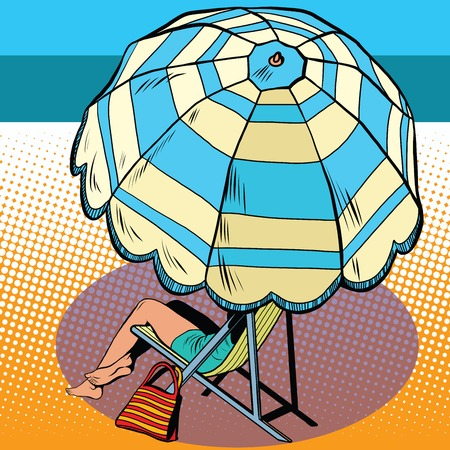 海ポップアート レトロなスタイルでビーチバケーション傘の下の女の子。旅行やレジャー。観光やエンターテイメント。夏の暑い日に女性。