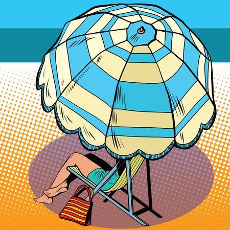 Meisje onder een parasol vakantie op zee pop art retro stijl. De reizen en vrije tijd. toerisme en entertainment. Een vrouw op een hete zomerdag. Stock Illustratie