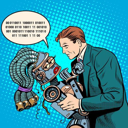 retro future: Future science fiction a couple of people and the robot pop art retro style. Digital language. Evolution. Computer evolution. Vector robot. Humanoids