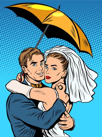Couple In Love Bride And Groom Under An Umbrella Pop Art Retro Royalty Free Cliparts Vectors Stock Illustration Image 53756373