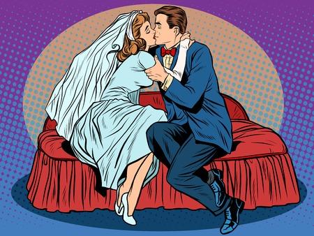 Eerste kus bruiloft avond, de bruid en bruidegom pop art retro stijl. Stoom en romantiek. Seks. Paar verliefd