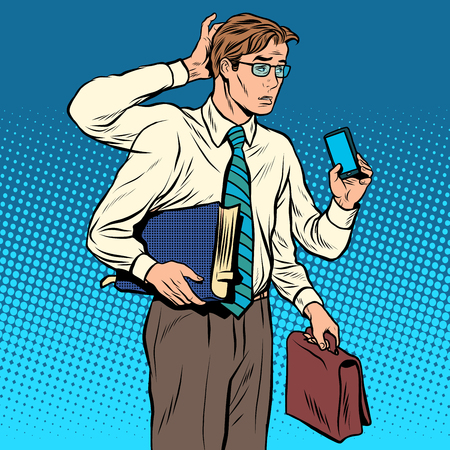 business problems: Business concept a lot of cases the multi-armed businessman pop art retro style. Problems at work. The Manager under stress