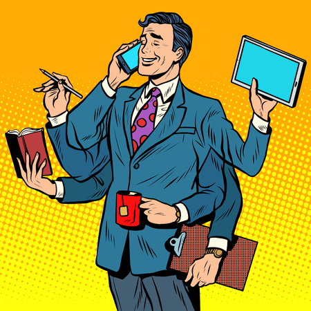 Business successful businessman multitasking pop art retro style. A successful business. Vector businessman. Retro businessman.