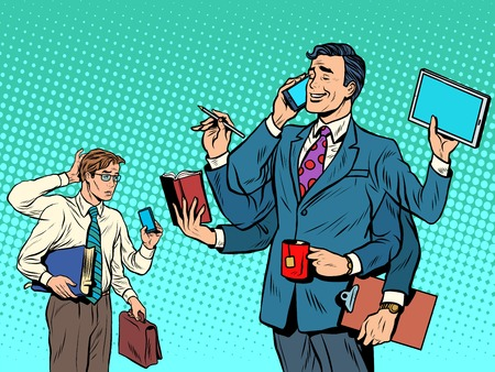 Cool successful businessman and a loser pop art retro style. business solutions. multitasking. New technologies. Leader and laggard 矢量图像