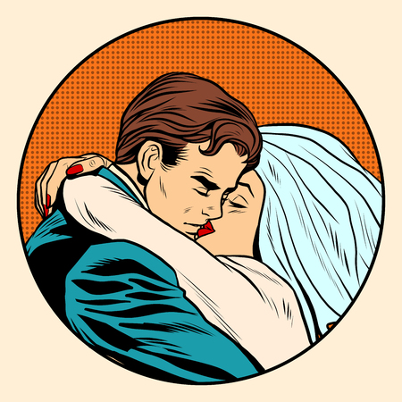 man style: Kissing bride and groom wedding pop art retro style. Postcard invitation. Retro love of a man and a woman. Illustration