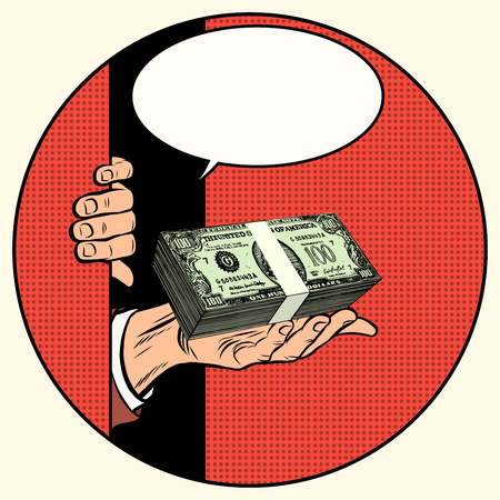cash money: Money as a gift. Charity and fundraising pop art retro style. Money and finances. Stack of dollars. Cash