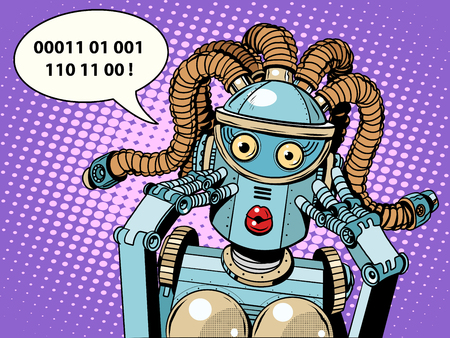 humankind: woman robot surprised pop art retro style. Digital language.