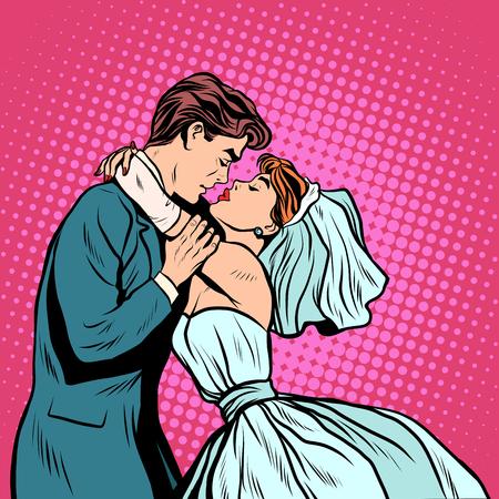 Coppia di sposi prima arte stile retrò bacio pop. l'uomo e la donna di nozze. Cerimonia matrimoniale. Il fidanzamento. Invito e cartolina