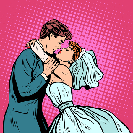 bride: Pair of bride and groom first kiss pop art retro style. Wedding man and woman. Wedding ceremony. The betrothal. Invitation and postcard