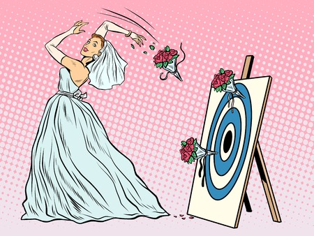 shooter: The bride bouquet flower girl throws on target pop art retro style. Wedding and betrothal. Wedding tradition. Bride and flower bouquet