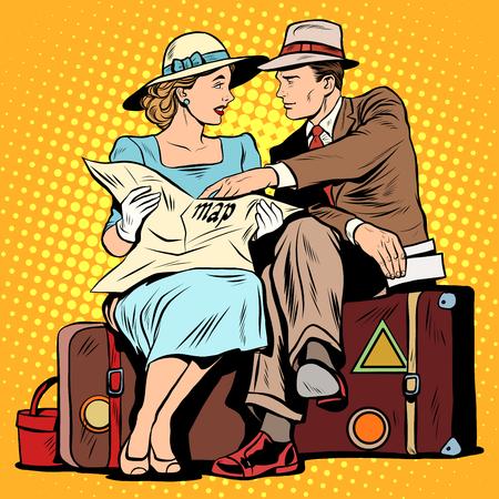 見て観光客のカップルは、ポップアートのレトロなスタイルをマップします。電子・紙媒体の地図。観光と観光スポット。旅をナビゲートします。
