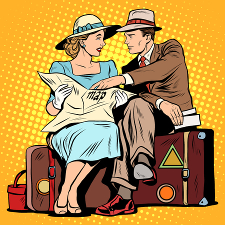 navigating: Couple of tourists looking at maps pop art retro style. Electronic and paper maps. Tourism and attractions. Navigating the journey