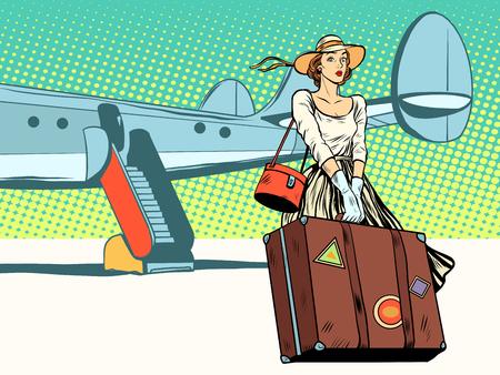 Mooi meisje de toerist kwam pop art retro stijl. Reizen en toerisme. Zware bagage. Avontuur