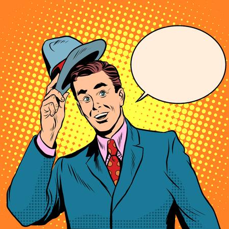 politeness: Hello welcomes the man raises his hat pop art retro style. Etiquette and politeness. The elegant gentleman. Retro man
