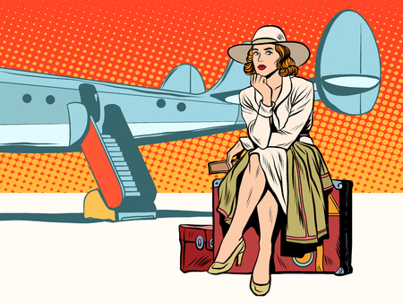 Tourist girl sitting on a suitcase, travelling by plane pop art retro style. Journey and adventure. Heavy baggage.