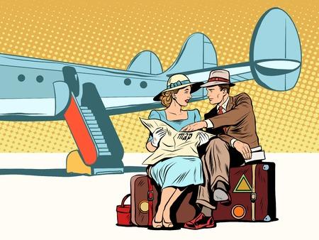 Los turistas pareja mirando el mapa, después de aterrizar estilo retro pop art. El aeropuerto y el avión. La ruta turística. Atracciones y navegación. Turistas extranjeros Ilustración de vector