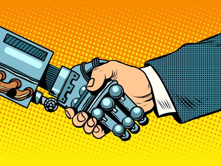 Apretón de manos de robot y el hombre. Las nuevas tecnologías y la evolución del estilo del estallido retro del art.