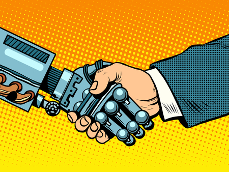 Handshake of robot and man. New technologies and evolution pop art retro style. 矢量图像