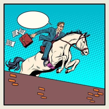 uomo a cavallo: Imprenditore cavaliere su cavallo salta sopra barriera pop art stile retrò. Il concetto di business. successo aziendale