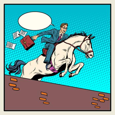 uomo a cavallo: Imprenditore cavaliere su cavallo salta sopra barriera pop art stile retr�. Il concetto di business. successo aziendale
