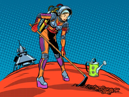 other space: Girl astronaut ecology plant care planet pop art retro style. The exploration of Mars and other planets. Earth day. Ecology and nature. Future and science fiction. Space travel